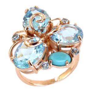 Кольцо из золота с бирюзой, топазами и фианитами