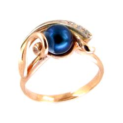 Кольцо из золота с синим жемчугом и фианитами