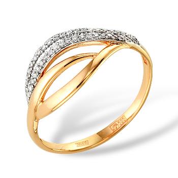 Кольцо из золота с белыми фианитами