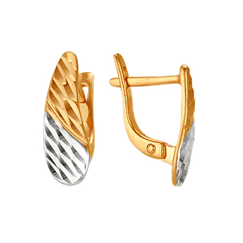 Золотые серьги с алмазной гранью
