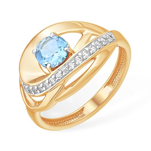 Золотое кольцо с голубым топазом и фианитовой дорожкой