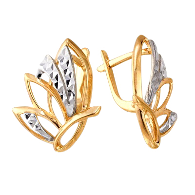 Серьги из красного и белого золота с алмазной гранью