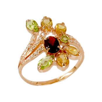 Кольцо из золота с хризолитами, цитринами, гранатом и фианитами