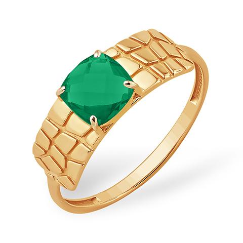 Золоте кольцо с зелёным агатом бриолет