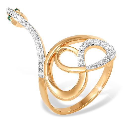 """Кольцо """"змейка"""" из золота с фианитами"""