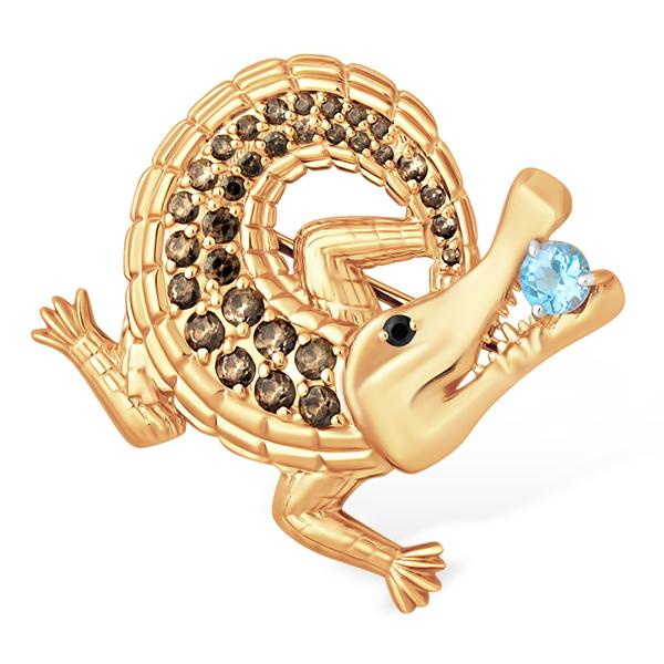 """Брошь """"крокодильчик"""" с голубым топазом и фианитами"""