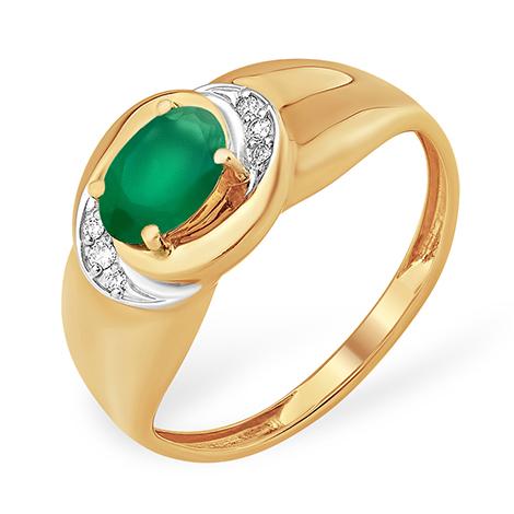 Кольцо из золота с овальным зелёным агатом и фианитами