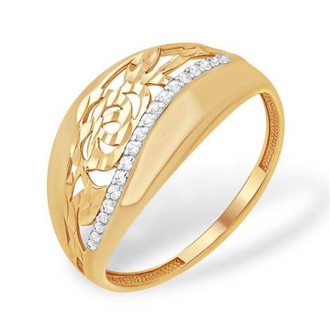 Ажурное кольцо с дорожкой из фианитов