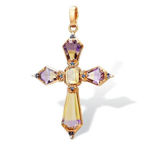 Золотой крестик с аметринами