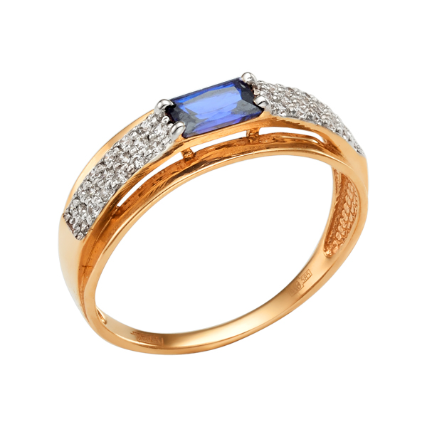 Золоте кольцо с сапфиром и фианитами