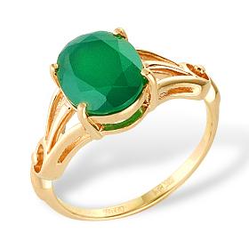 Кольцо из золота с зеленым агатом