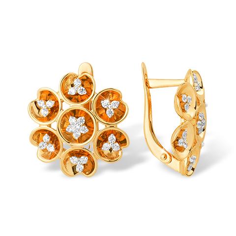 Объёмные золотые серьги в виде цветка