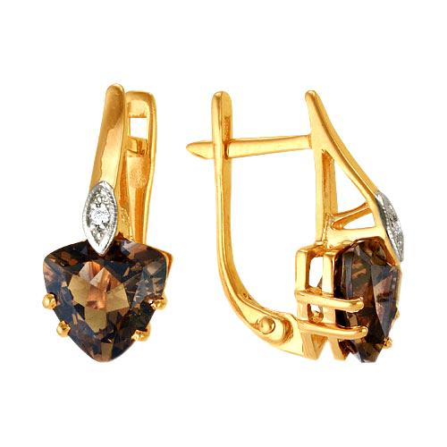 Серьги из золота с раух-топазами и фианитами