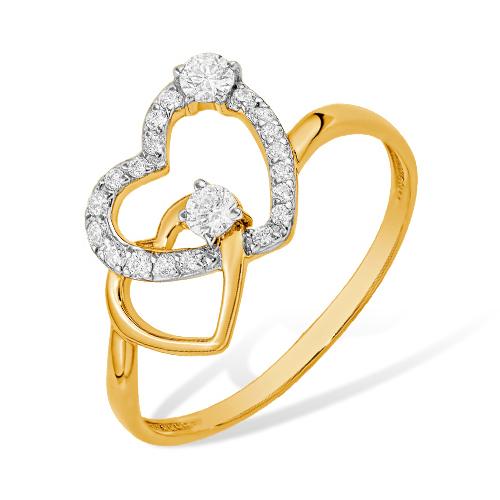"""Золотое кольцо """"сердца"""" с фианитами"""