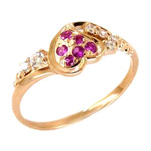 Кольцо из золота с розовыми и белыми фианитами