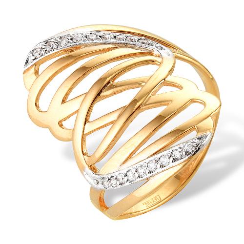 Золотое кольцо с белыми фианитами