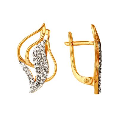 Серьги из золота с фианитами
