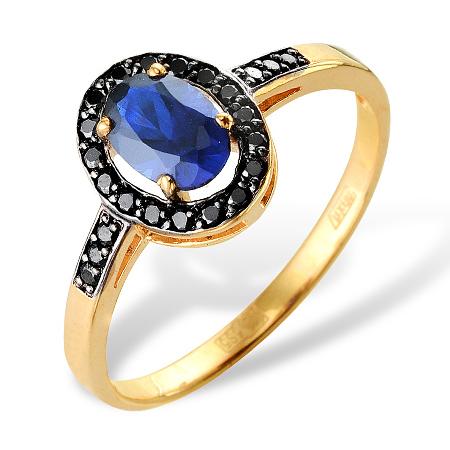 Кольцо из золота с синим и черными фианитами