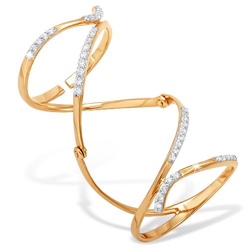Кольцо на две фаланги с бесцветными фианитами
