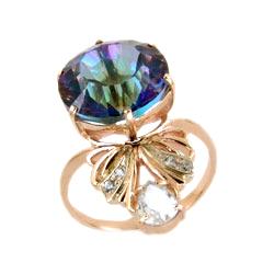 Кольцо из золота с мистик-топазом и фианитами