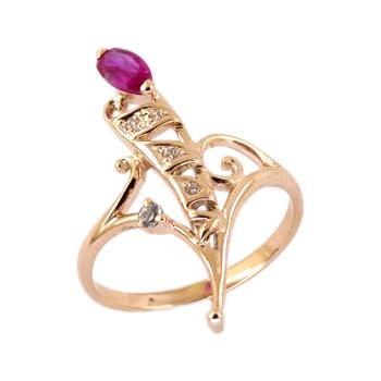 Золотое кольцо с розовым и белыми фианитами