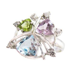 Кольцо из серебра с хризолитом, аметистом, топазом и фианитами