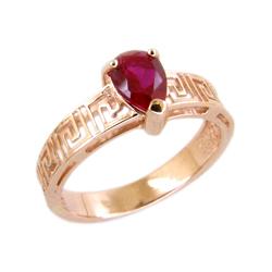 Кольцо из золота с гидротермальным рубином