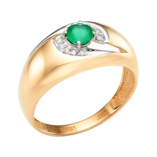 Золоте кольцо с зелёным агатом и фианитами