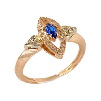 Кольцо из золота с синим и белыми фианитами