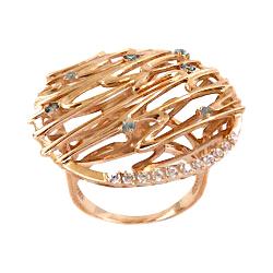 Золотое кольцо с голубыми и белыми фианитами