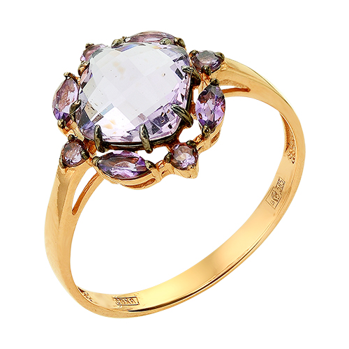 Кольцо из золота с крупным аметистом