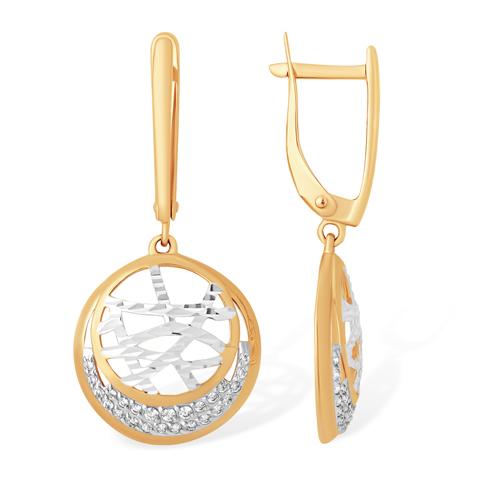 Висячие серьги круглой формы с алмазной гранью и фианитами