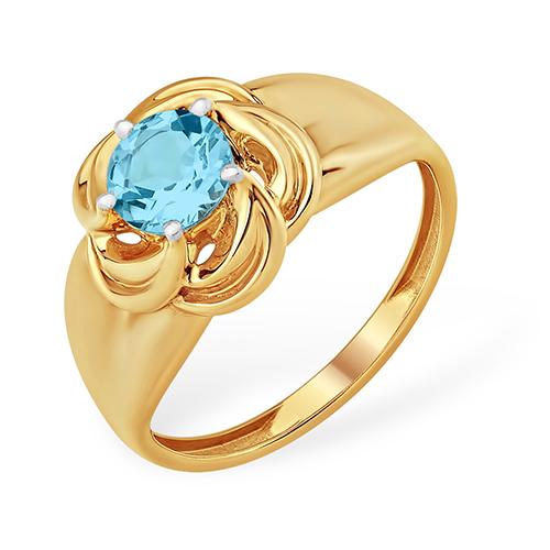 Золотое кольцо в виде цветка с голубым топазом