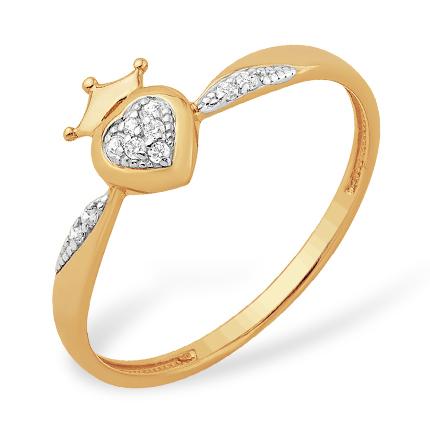 """Кольцо """"сердце королевы"""" из золота с фианитами"""