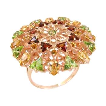 Кольцо из золота с гранатами, хризолитами и цитринами