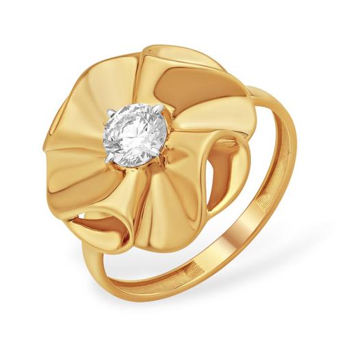 Крупное кольцо в виде цветка с фианитом