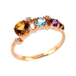 Кольцо из золота с цитрином, топазом, аметистом, гранатом и фианитами