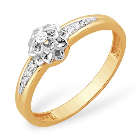 "Золотое кольцо ""цветок"" с бриллиантами"