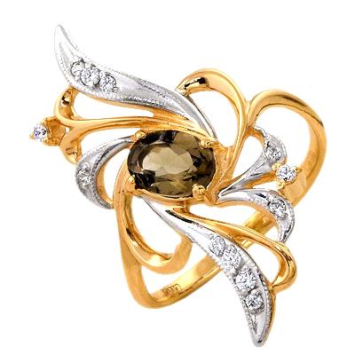 Кольцо из золота с раух-топазом и фианитами