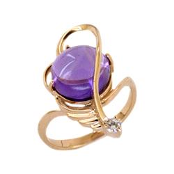 Кольцо из золота с аметистом и фианитом