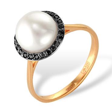 Кольцо из красного золота с белым жемчугом и черными фианитами