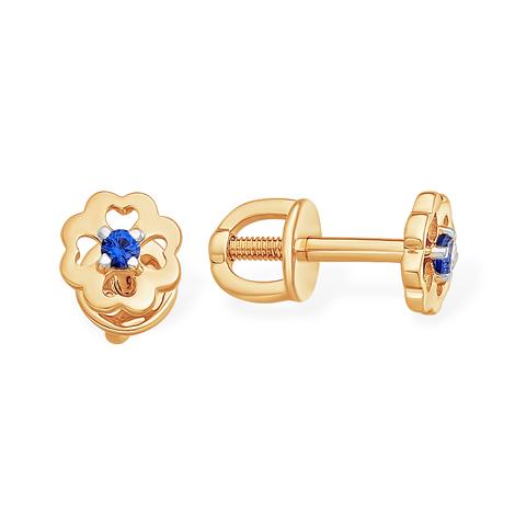 Золотые пусеты в виде цветка с синим фианитом