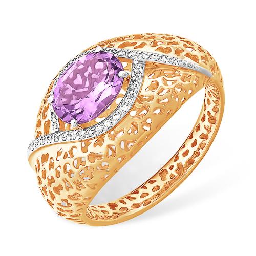 Объёмное золотое кольцо с аметистом