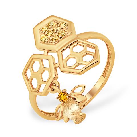 Оригинальное золотое кольцо с пчелой