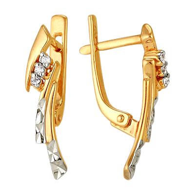 Золотые серьги с алмазгой гранью и фианитами