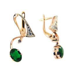 Серьги из золота с зеленой шпинелью и фианитами