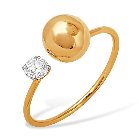 """Золотое кольцо """"Dior"""" с фианитом"""