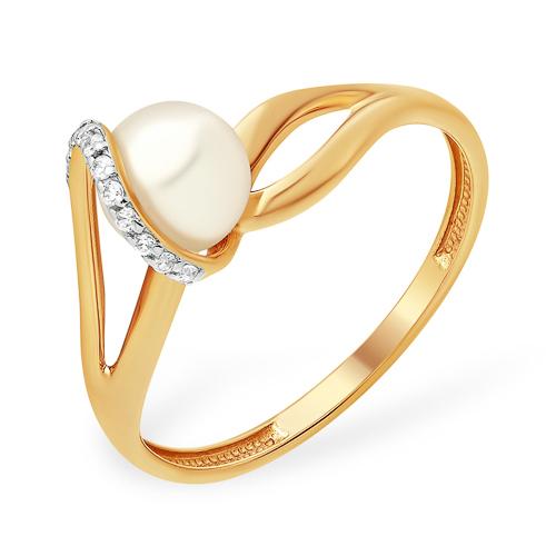 Золотое кольцо с жемчугом и дорожкой из фианитов