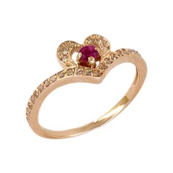 Кольцо из золота с красным и белыми фианитами