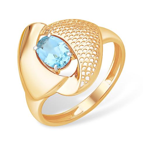 Объёмное золотое кольцо с топазом
